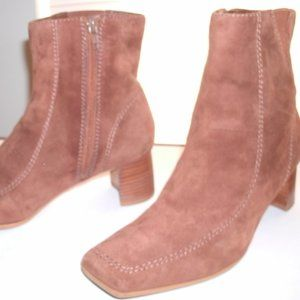 Nine West Tan Suede Ankle Boots, Mid-Heel, 8.5M